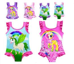 girls bathing suit kids swim 2019 - 6 Designs INS Unicorn Baby Kids Swimwear one-Piece Suit Bowknot Swimsuit Infant Girls Summer Cartoon Swim Bathing Suit B