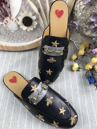 Leather Details NZ - Quality Women Princetown Stamp Leather Print Slipper Shoes,Leather Sole,Horsebit detail,Size 35-41,Free Shipping