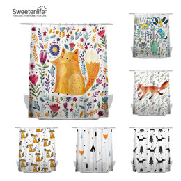 2018 shower waterproofing Sweetenlife 150x180cm Cute Fox Shower Curtain For Bathroom Polyester Fabric Waterproof Curtain European Style Bath shower waterproofing on sale