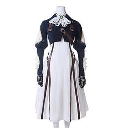 Anime white uniforms online shopping - Violet Evergarden Cosplay Costume Womens Anime Uniforms Suit Dark Blue White