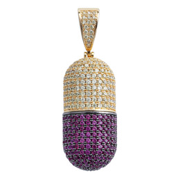 Wholesale pill red resale online - Iced Out Cubic Zircon Can Open Pill Capsules Pendant Necklace for Men Women Hip Hop Detachab