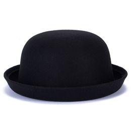Blue Bowler hats online shopping - 2018 Spring Autumn Winter Faux Wool Fedoras Hats for Women Bowler Hats Vintage Dome Caps Chapeau Top Solid Color Winter Cap