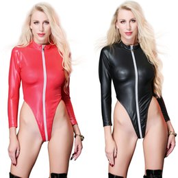 b4b124b18c Women s Plus Size Sexy Teddies Patent Leather Costumes Zipper Cross Crotch  For Bar Clubwear Stripper Party Fancy Dress