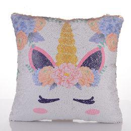Новый Единорог блестками подушки охватывает две стороны Русалка сменный наволочка диван номера украшения дома искусственной задней для x'mas день рождения на Распродаже