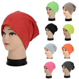 korean women cap hat autumn 2019 - Autumn Winter Korean Unisex Turban Hat Polyester Candy Color Head Set Men Women Knied Warm Cap Hip-Hop Knit Beanies JL c