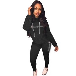 lounge suits 2019 - 2 Pieces Set Women Tracksuit High Neck Letter Print Black Streetwear Hoodies Sweatshirt & Long Pants Sets Sport Wear Lou