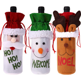 Decoration For Party Tables NZ - 3 Pieces Christmas Wine Bottle Cover Pouch Bag Set Xmas Santa Table Decoration Navidad Party Gift Christmas Decoration For Home Party