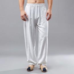 f0394b450 Men Trouser China Canada - Men Cotton Linen Elastic Waist Casual Pants China  Kongfu Pants Solid
