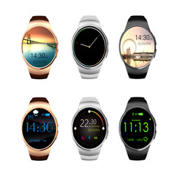 Iphone golden batterIes online shopping - KW18 Luxury Watch For Iphone Andorid MP3 Alarm Clock Smart Watch GSM Round Screen Bluetooth Charging Gesture mAh Battery Wristband