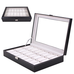 Glasses Storage Australia - 24 Grids PU Leather Watch Box Jewelry Display Box Storage Case Carry with Foam Pad Pillow Transparent Glass Watch Container