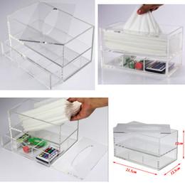 Drawer Desk Storage Boxes Australia - Transparent Multifunctional Tissue Box With Drawer Acrylic Desk Storage Case Clear Napkin Organizer Home Hotel Tissue Storage