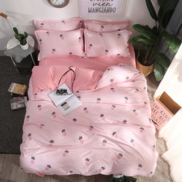 twin kids bedding set 2018 - Teenage girl New fashion Bedding Set pineapple duvet cover Pure color Bed Linen Pink Kid Adult lovely Pillowcases discou