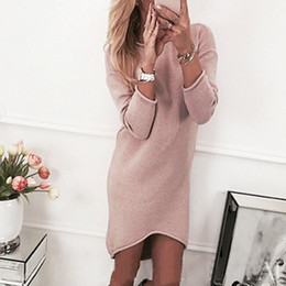 Discount office club clothes - Wholesale-Autumn Causal Women Dress Knitted Sweater Dresses Long Sleeve Rounk Neck Office Dress Female Vestidos Women Cl