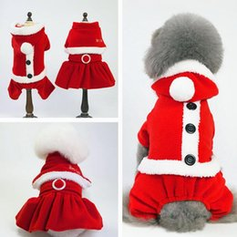 Dresses apparel online shopping - 5 Size Christmas dog costume transformed dress santa suit classic Euramerican pet dog warm Christmas clothes dog apparel decoration supplies