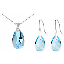 07850e332a47 Women Jewelry Set Crystal from Swarovski Exquisite Necklace Earring Sets Long  Water Drop Dangle Earrings 310