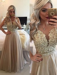 Line bateau chiffon Lace online shopping - Charming Sequins A line Prom Dresses Jewel Sleeveless Covered Lace Applique Button Floor Length Formal Evening Dresses