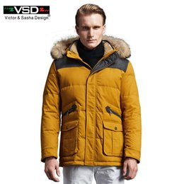 down parkas sale UK - VSD Winter Jacket 2017 New Brand Clothing 90% White Duck Down Men's Jacket Thick Warm Hooded Coat Collar Parkas Hot Sale TC8869