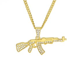 China WEC Two Color Hip-hop Style AK47 Gun Diamond Insert Mini Tom Gun Type Pendant Necklaces for Men Jewely suppliers