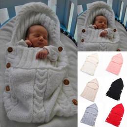 CroChet Children bag online shopping - Baby Swaddle Wrap Warm Wool Crochet Knitted Newborn Infant Sleeping Bag Baby Swaddling Blanket Sleep Bags baby blanket newborn