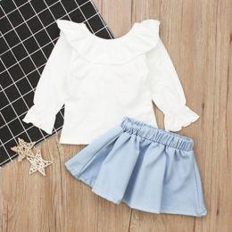 $enCountryForm.capitalKeyWord Canada - NEW ARRIVAL! 2pcs Summer Fashion Girls Baby Clothing Set Ruffle Long Sleeve Tops Skirt BABY girl skirt set for 4 5 6 years old