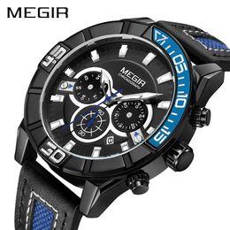 Men Digital Wrist Watches NZ - Creative MEGIR Chronograph Men Sport Watch Fashion Army Military Quartz Wrist Watches