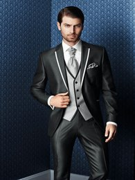 best three piece suit design NZ - New Design High Quality 3 Piece Groom Tuxedos Groomsmen Best Man Suit Men Wedding Suits Bridegroom Morning Dinner Suit Jacket+Pants+Vest+Tie
