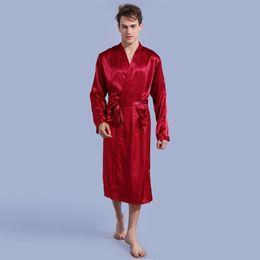 e26332641d Burgundy Men s Kimono Robe Bathrobe Sleepwear Faux Silk Bath Gown Nightgown  Casual Pyjamas Hombre Pijama Size S M L XL XXL 035