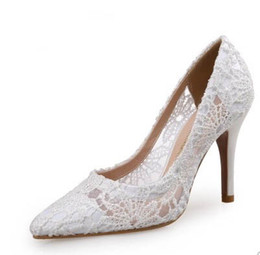 lace peep toe flats NZ - lace free shipping wholesaler white sexy fashion pointed toe high heel bride women dress shoes 478