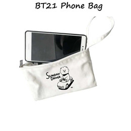 New Cell Phone Charm Australia - 2018 New Kpop BTS bts Bangtan Boys BT21 TATA CHIMMY COOKY coin purse Cell phone wallet handbag jewelry fashion charm