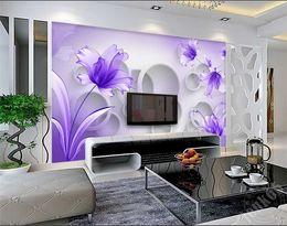 Background Prints Australia - Purple Flower Wallpaper 3D Wall Mural for Living Room TV Background Wall Art Decor Print Photo Wall Paper papier peint 3d fleur