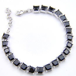 silver tennis bracelets NZ - Luckyshine Classic Shiny obsidian Square 925 Silver Men Tennis Bracelets Lovers Bracelets Bangles Gift Party 5 Pcs Free Shipping