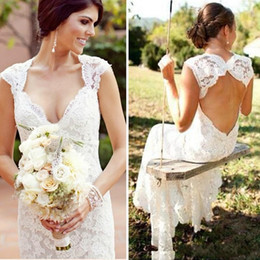 $enCountryForm.capitalKeyWord Australia - Stylish White Full Lace Country Wedding Dresses Plus Size Fitted Open Back Long Bridal Gowns For Women Fun Slim Garden Beach Wedding Gown