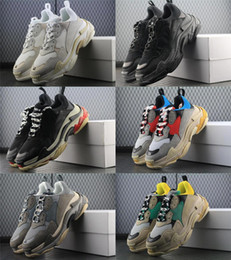 Wholesale New Triple S Shoes Man Woman Sneaker High Quality Mixed Colors Thick Heel Grandpa Dad Trainer Triple S Casual Shoes With Logo