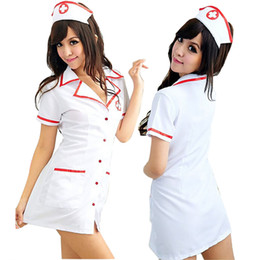 erotic cosplay full Canada - Sexy Nurse Costume Set Fantasias Hot Lingerie 2018 Sexy Erotic Cosplay for WomenCostume Nurse Uniform Tempt V-Neck Dress
