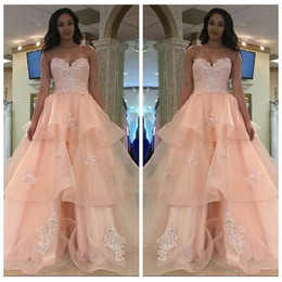 Wholesale 2019 Beautiful Sweetheart Sleeveless Quinceanera Dresses Lace Up Back Sexy Prom Party Gowns Beaded Crystal Vestidos De Quinceanera Wear
