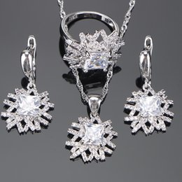 Wholesale Pendant Sets NZ - 925 Sterling Silver Bridal Wedding Jewelry Sets White CZ Earrings For Women Ring Pendants&Necklaces Set Gifts Jewelry Box