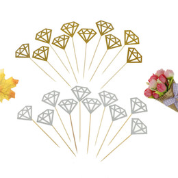 gold cupcake toppers 2019 - 10Pc bag Wedding Cake Topper Decor Gold Glitter Diamond Crown Cupcake Toppers Wedding Ceremony Birthday Party Supplie ch