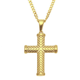 Chinese  Cool Men Hip-Hop Necklace 316L Stainless Steel Gold Plated Cross Pendant Necklace for Men Women Fashion Punk Jewelry for Friends manufacturers