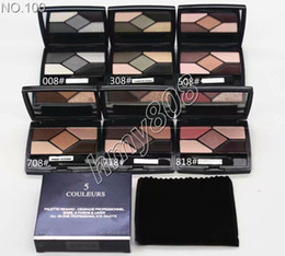 eyeshadow palette mirror 2019 - Makeup Base Eyeshadow Palette 5Color Shimmer & Metallic Eyeshadow Top Quality Palette With Velvet bag And Mirror Natural