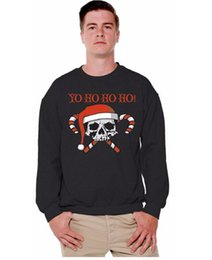 Wholesale christmas sweaters men for sale – oversize Christmas Skulls YO HO HO HO Funny Print Festival Pullover Hoodies Lovers Warm Sweaters Men Women Casual Crew Neck Sweatshirt Tops