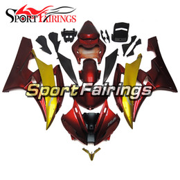 customize motorcycle fairings Australia - Gold Red Motorcycle Full Fairing Kit For Yamaha YZF600 R6 YZF-R6 Year 2006 2007 Sportbike ABS Plastic Cowlings Free Gifts Customized