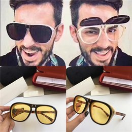Uv lens cover online shopping - 2018 new fashion designer sunglasses pilot frame flip cover optical glasses sunglasses dual series popular top quality UV lens