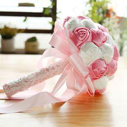 Cheap Crystal wedding bouquets online shopping - 25 cm Rose Artificial Bridal Flowers Bride Bouquet Wedding Bouquet Crystal Ivory Silk Ribbon New Buque De Noiva Cheap