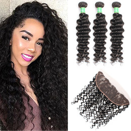 $enCountryForm.capitalKeyWord Australia - Malaysian Deep Wave With Frontal Human Hair 3Bundles With Ear To Ear Lace Frontal Closure 8A Cheap Deep Curly With Closure Hair Bundles