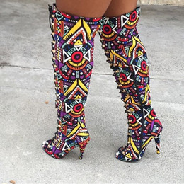Outlet charms online shopping - 2018 Factory Outlet high end color printing high heels European and American fashion personality trend women s boots