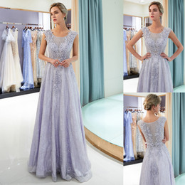 Wholesale Luxury Beaded Lace Applique Lavender Prom Dresses A Line Floor Length Sleeveless Formal Occasion Wear Womens Long Evening Gown CPS1164