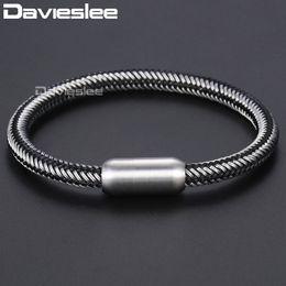 $enCountryForm.capitalKeyWord Australia - Davieslee Wire Rope Braided Strand Bracelets For Men Black Silver Blue Tone Stainless Steel Bracelet Men Jewelry 6mm DLBM12