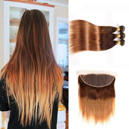 lace frontal bundles brown ombre hair 2019 - Two Tone 4 30 Ombre Straight Virgin Hair 3 Bundles With 13*4 Lace Frontal Closure Brown Brazilian Human Hair Weaves With