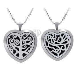 $enCountryForm.capitalKeyWord NZ - Heart Shape 30mm Silver Tree Stainless Steel Essemtial Oil Diffuser Locekt Necklace Aroma Perfume Magnetic Locket Pendant