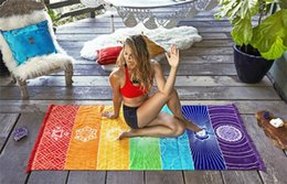 Discount rainbow mat - 100pcs Bohemia Wall Hanging India Mandala Blanket 7 Chakra Colored Tapestry Rainbow Stripes Travel Boho Beach Towel Yoga